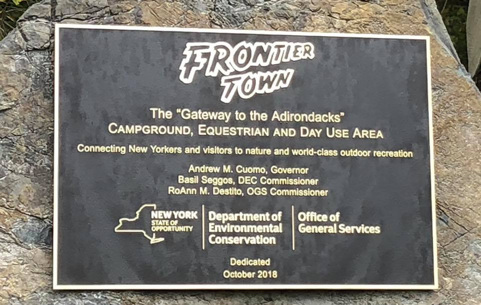 Frontier Town plaque - North Hudson, NY