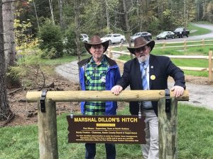 North Hudson NY Frontier Town ribbon cutting -- hitching post -- Supervisor Ron Moore